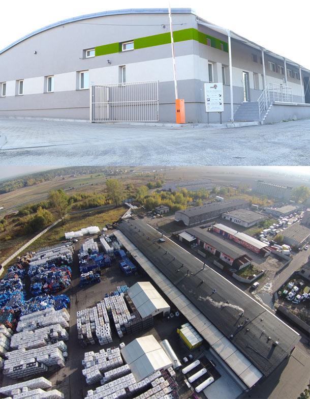 Budynek siedziby firmy DCR i widok z lotu ptaka na teren firmy